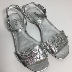 Michael Michael Kors Metallic Silver Stars Sandals